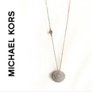 NWT authentic MK rose gold tone pave disc pendant